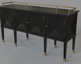 Conveni Sideboard With Brass Detail Charcoal Black 3D