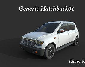 3D asset Generic Hatchback01 Clean White