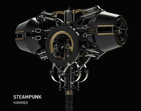 steampunk hammer weapon Thor game 3D