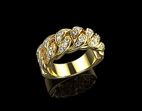 Diamond Cuban Ring N4 3D print model
