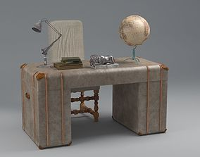 old desk 19 century with extra object 3D model