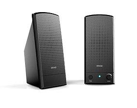 Black desktop Stereo 2-1 speaker 3D printable model