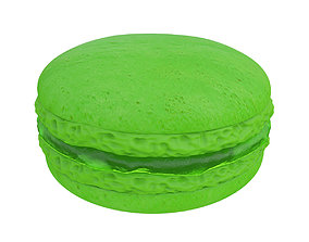 Green macaroon with jam 3D model