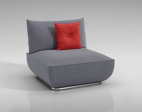 3D model Grey Lounge Chair With Red Pillow