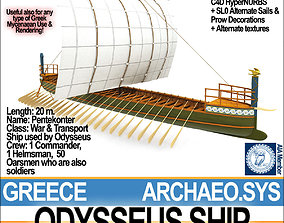 3D Greek Homeric Odysseus Ship