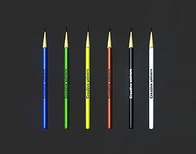 Pencils 3D model game-ready