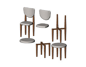 3D printable model Miniature side chairs and stool mockups