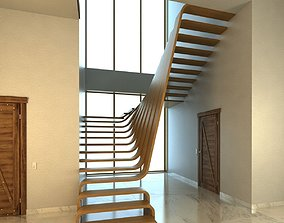 Creative wood stairs scene 3D model