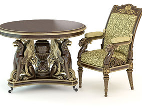 carved Table and chair 3D model