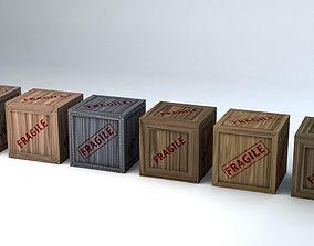 Fragile Wooden Crates Pack 3D model VR / AR ready