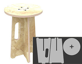 dxf Stool MJ for CNC router cut 3D print model