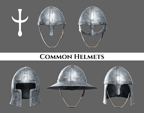 3D model Medieval Common Helmets