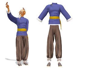 3D asset Men Shogun Martial Art Kungfu Outfit