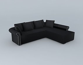3D Sofa angle black PLAZZA