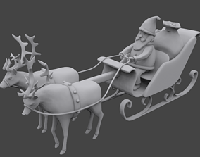 Santa sleigh 3D printable model