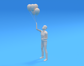 Low Poly Kid Holding Balloons 3D asset