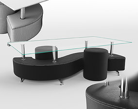 Coffee table and 2 pouffes 3D