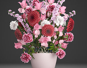3D Bouquet of red flowers