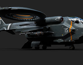 3D asset Helicopter Jet Airplane Spaceship Si-Fi Vehicle 1