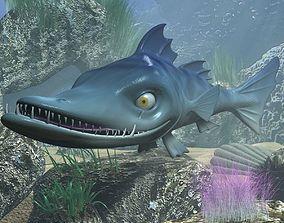 cartoon Barracuda Fish RIGGED 3D asset
