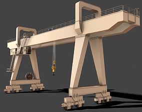 PBR Double Girder Gantry Crane V2 - White 3D asset
