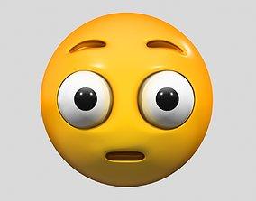 Emoji Flushed Face 3D