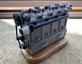 3D Printable Inline 4 Car Engine Model hobby
