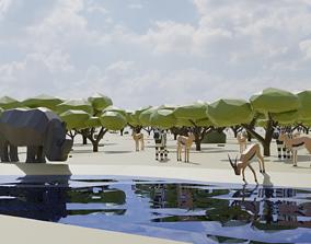 Safari scene 3D asset