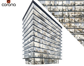 Modern office building 04 at night with simple 3D model