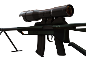 Sniper Rifle 3D asset VR / AR ready PBR