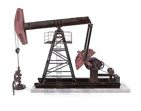 3D asset Oil Pumpjack Weathered 2