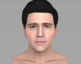 Handsome brunette man bust for full color 3D printing 1