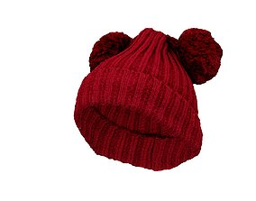 Wool Twin PomPom Hat 3D model