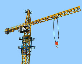 Voxel Tower Crane 3D asset animated