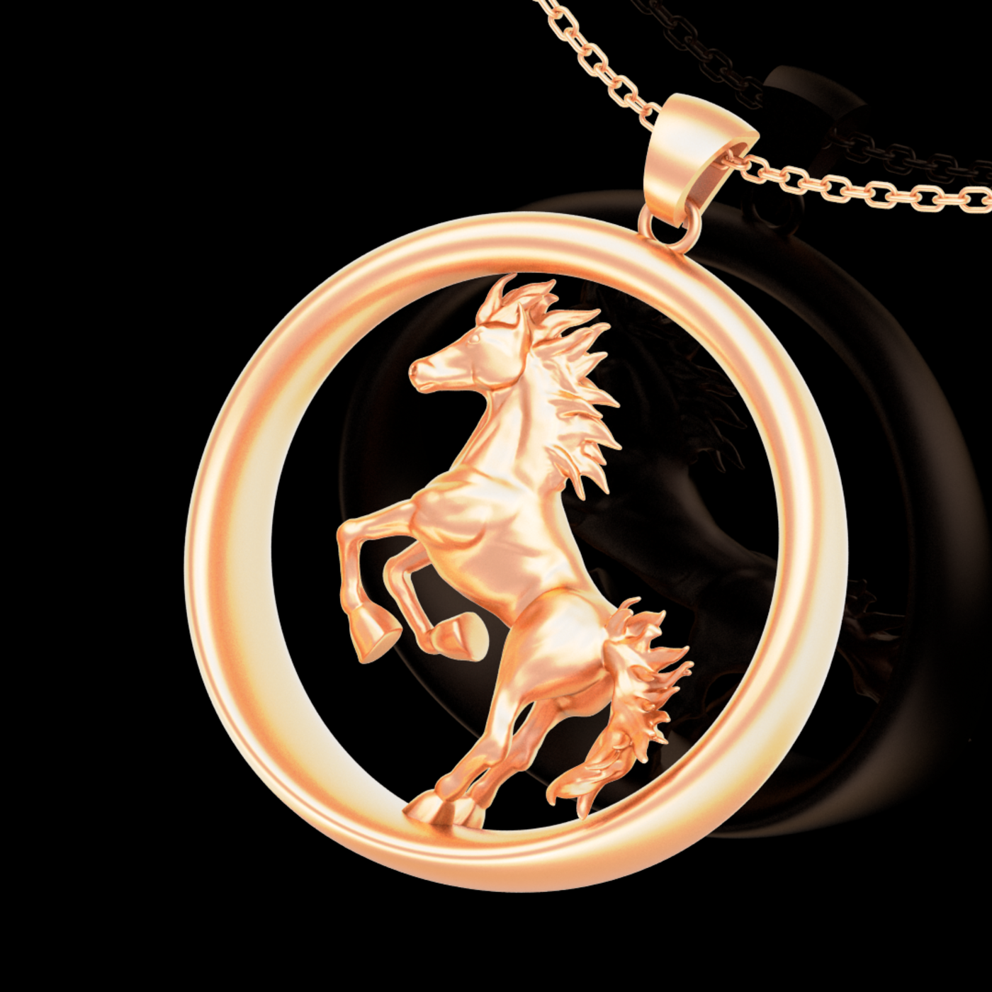 Savage Horse Sculpture Pendant jewelry Gold 3D print model