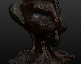 animated Space monster head 3D - Alien - Sticky green