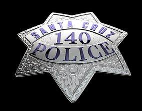 3D asset Santa Cruz Police badge