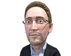 3D model Edward Snowden caricature