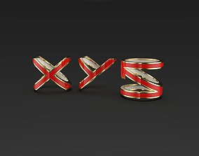 Abstract XYN or XYZ letters enameled 3D printable model