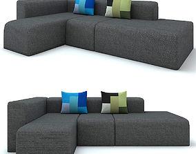 3D Modern Black Canvas Sofa