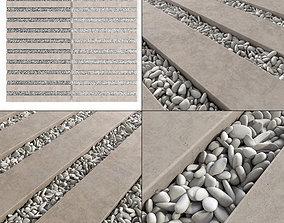 3D model Paving long line plate pebble n1