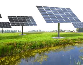 3D model sun following pv solar panel array