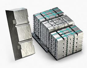 Aluminium Zinc Nickel Silver Titan Steel ingot 15 3D