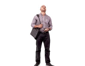 Man Standing Looking Upwards CMan0215-HD2-O01P02-S 3D