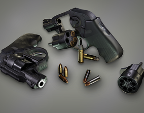 3D model Lowpoly PBR Snubnosed Revolver