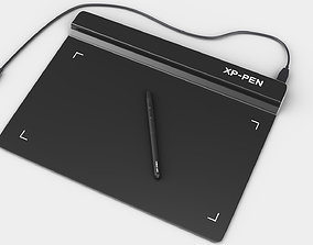 3D Graphics Tablet with Pen and wire model