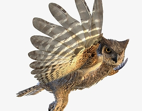 3D model Great Horned Owl - rigged - animated