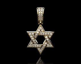 3D print model STAR OF DAVID DIAMOND PENDANT18k