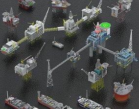 3D model realtime Oil rigs platform and FPSO pack