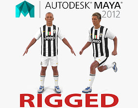 3D Soccer Player Juventus Rigged 2 for Maya